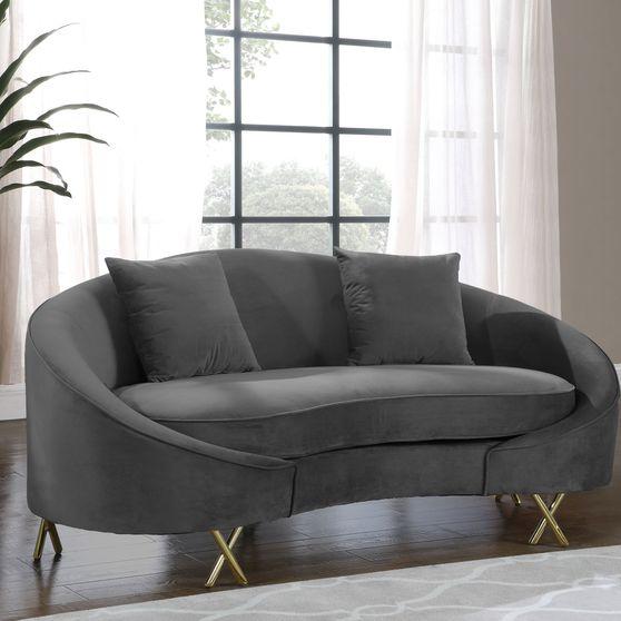 Gray velvet rounded back contemporary loveseat