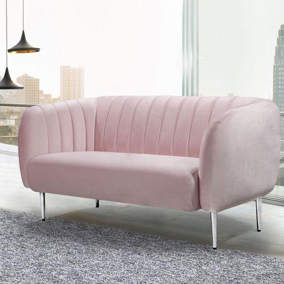 Chrome metal legs / channel tufted pink velvet loveseat