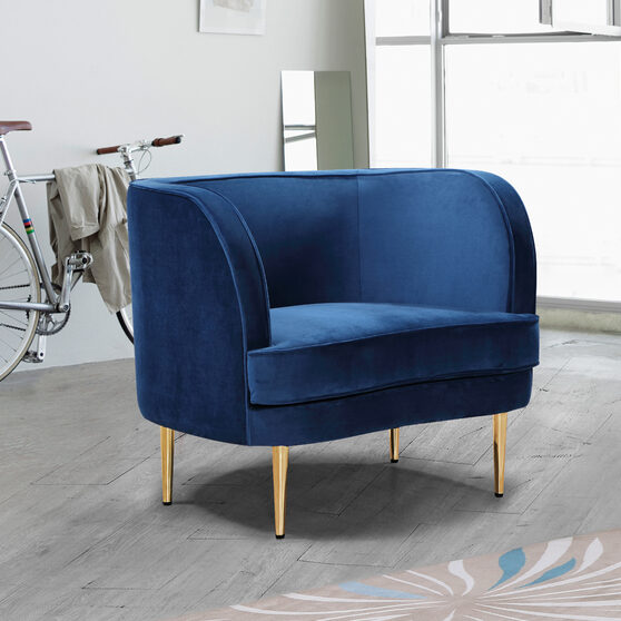 Simple and casual style velvet chair w/ golden legs