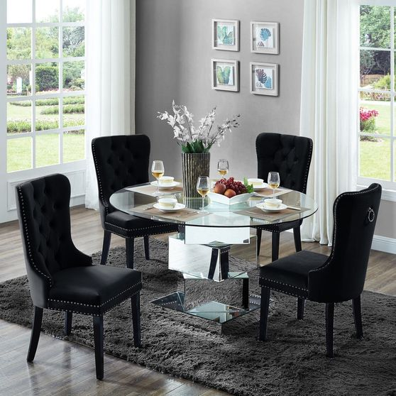 Round glass top / mirrored base dining table