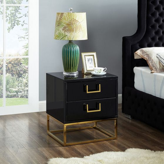 Black/gold modern night stand/side table