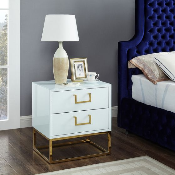 White/gold modern night stand/side table