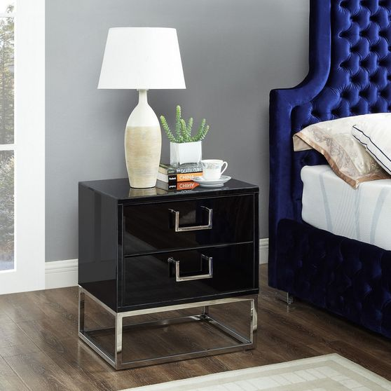 Black/chrome modern night stand/side table
