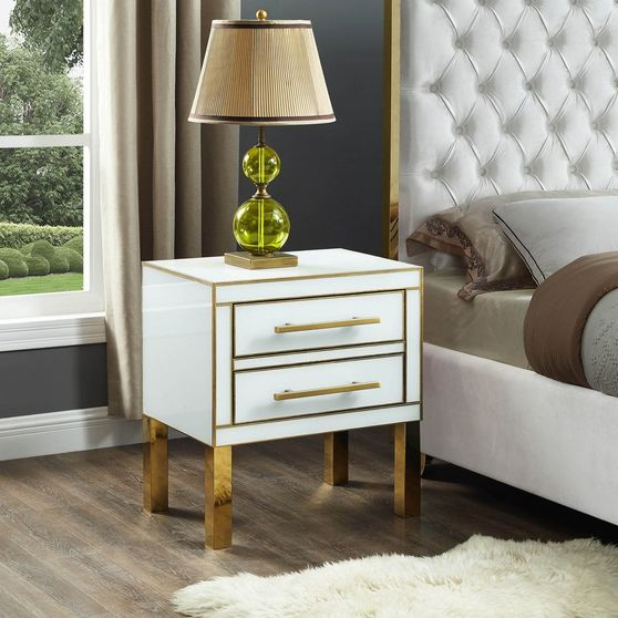 Contemporary white/gold gloss night stand/side table