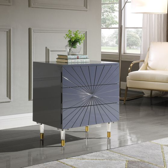Gray lacquer finish night stand with acrylic legs