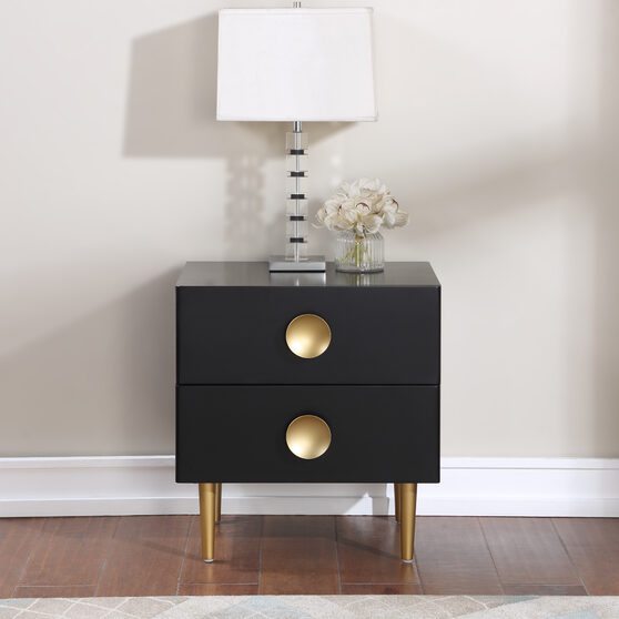 Black golden legs / handles contemporary night stand
