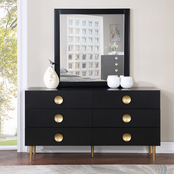 Contemporary black stylish dresser w/ golden legs