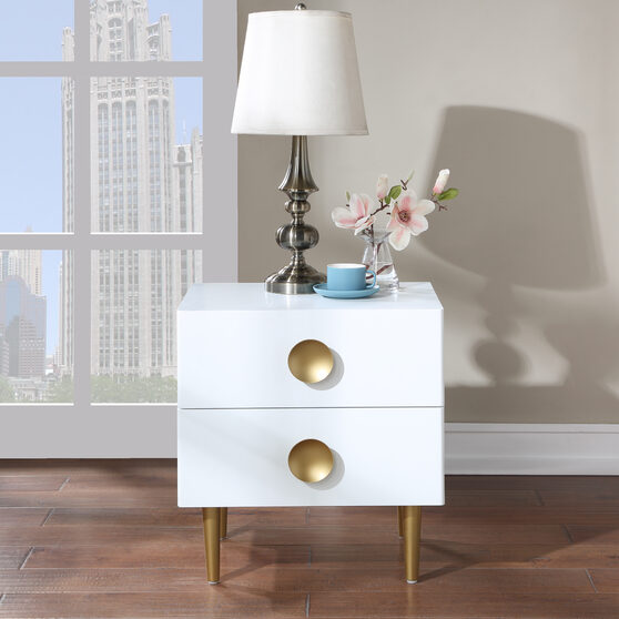 White golden legs / handles contemporary night stand