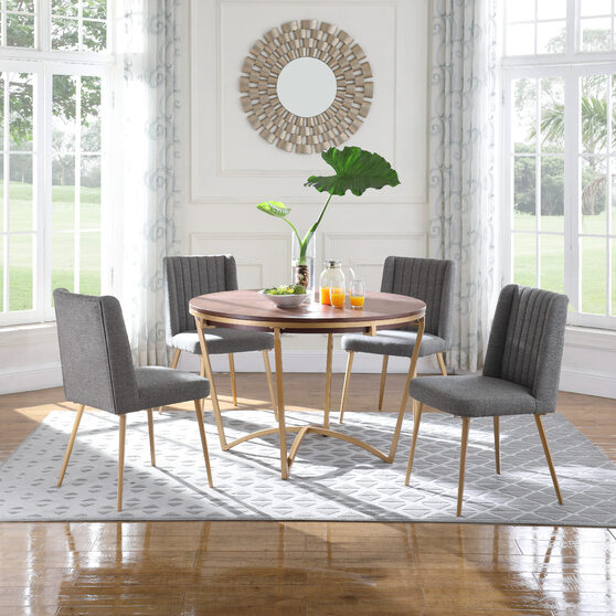 Stylish walnut / gold dining table w/ gray chairs