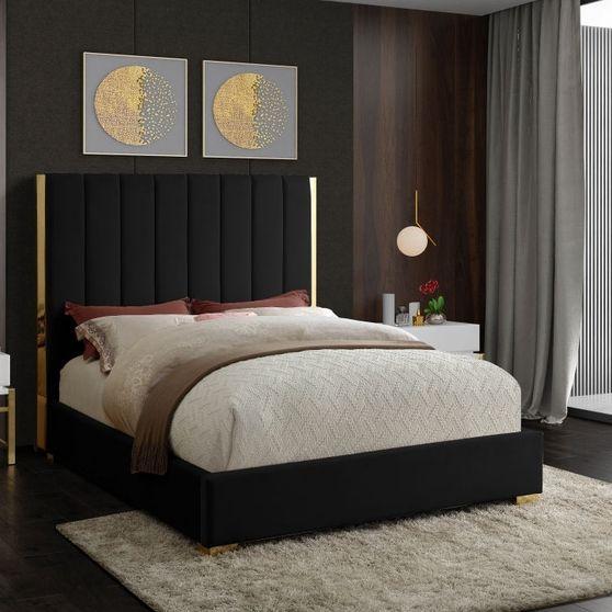Gold frame/legs / black velvet full size bed