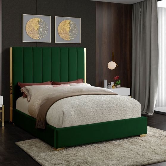 Gold frame/legs / green velvet queen bed