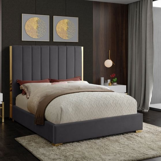 Gold frame/legs / gray velvet king size bed