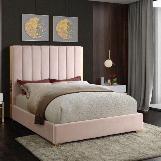 Gold frame/legs / pink velvet queen bed