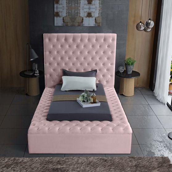 Pink velvet tufted twin bed w/ storage