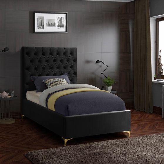 Black velvet tufted headboard twin bed