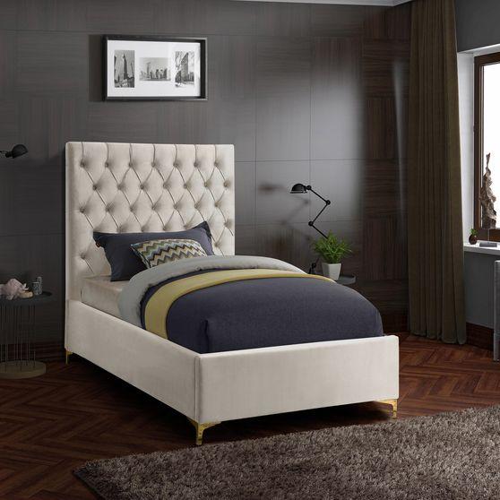 Cream velvet tufted headboard twin bed