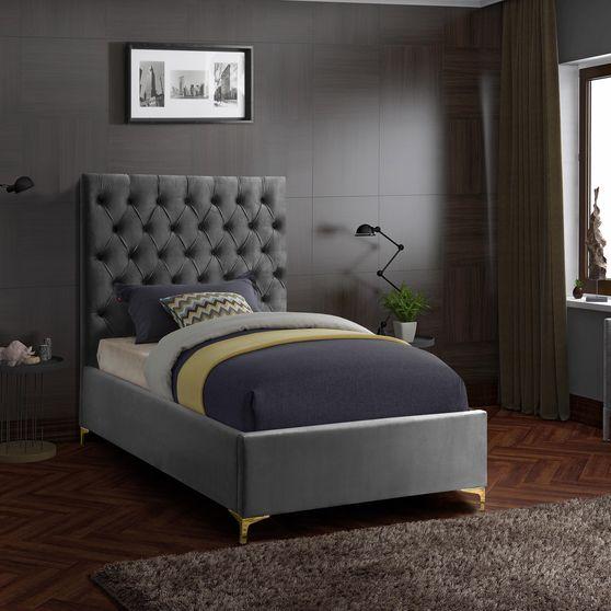 Gray velvet tufted headboard twin bed