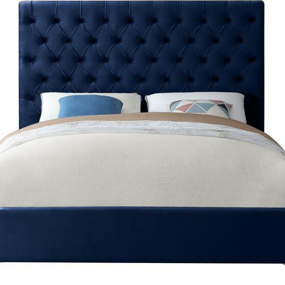 Navy velvet tufted headboard full bed