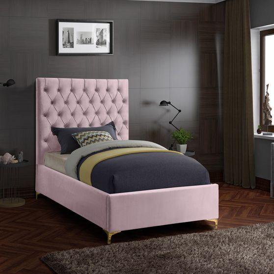 Pink velvet tufted headboard twin bed