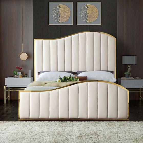 Curved golden frame / cream velvet king bed