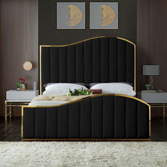 Curved golden frame / black velvet king bed