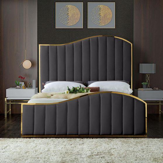 Curved golden frame / gray velvet bed