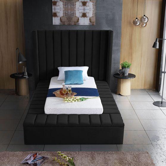 Channel tufting / storage black velvet twin bed