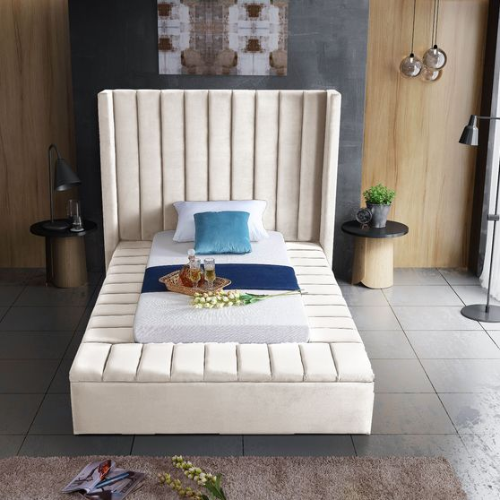Channel tufting / storage cream velvet twin bed
