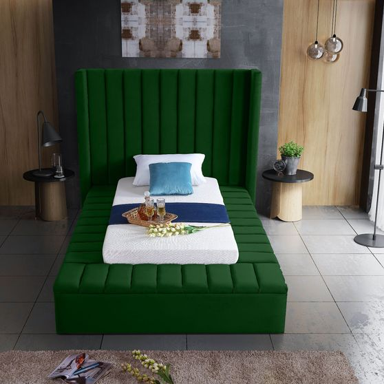 Channel tufting / storage green velvet twin bed