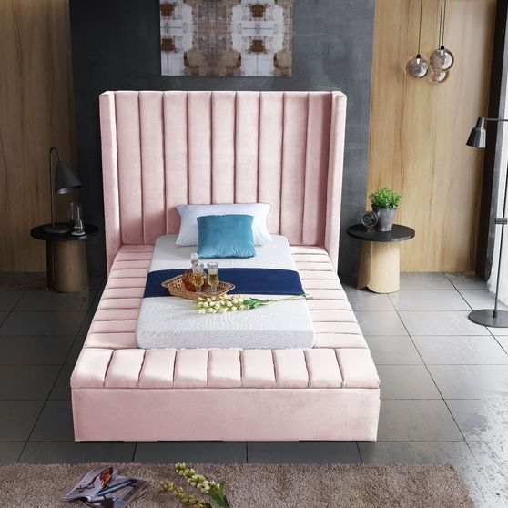 Channel tufting / storage pink velvet twin bed