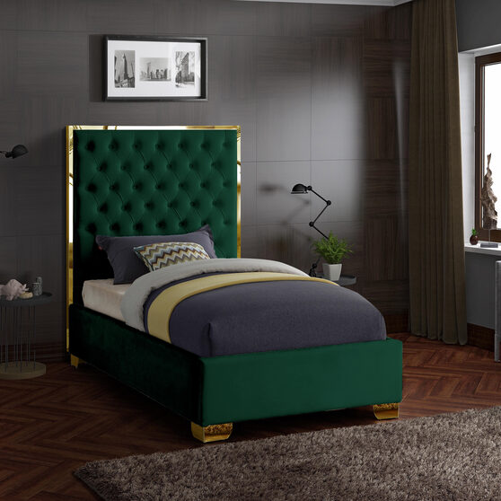 Modern gold legs/trim tufted twin bed in green velvet
