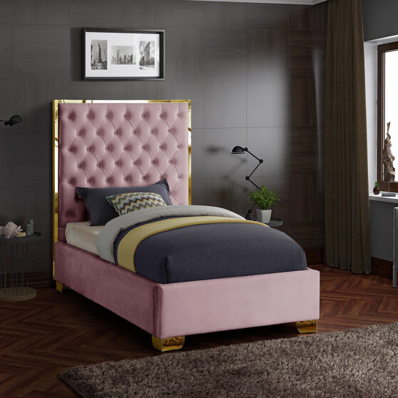 Modern gold legs/trim tufted twin bed in pink velvet