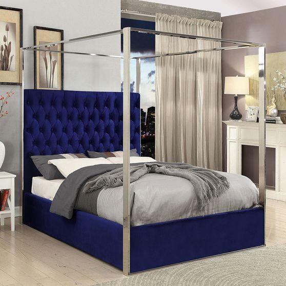 Velvet fabric canopy bed in modern style