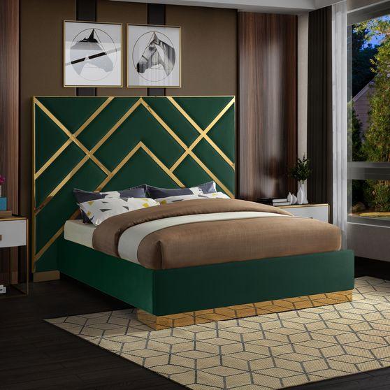Gold metal / green velvet contemporary bed