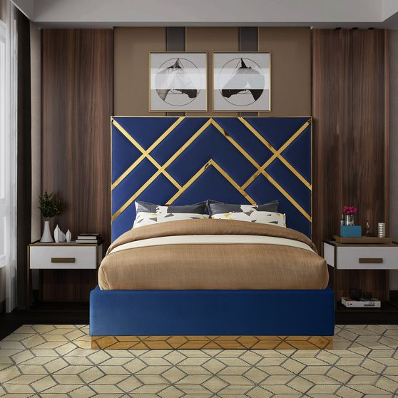Gold metal / navy velvet contemporary king bed