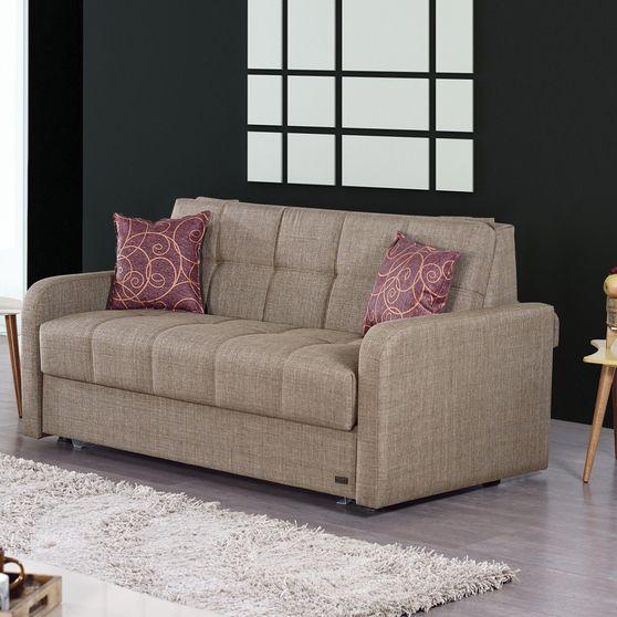 Contemporary sand chenille fabric sleeper sofa