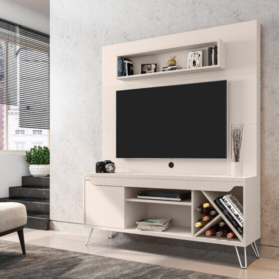 53.54 mid-century modern freestanding entertainment center with media shelves and wine rack in off white