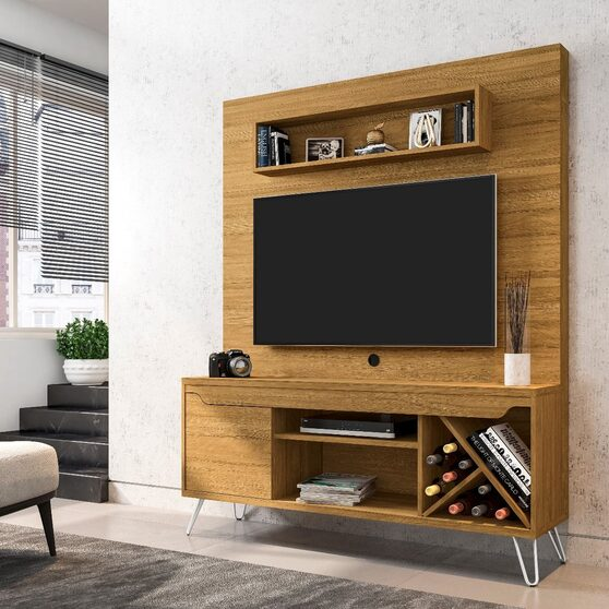 53.54 mid-century modern freestanding entertainment center with media shelves and wine rack in cinnamon