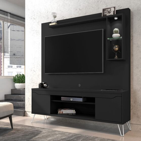 62.99 freestanding mid-century modern entertainment center with led lights and decor shelves in black