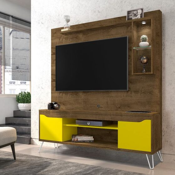 62.99 freestanding mid-century modern entertainment center with led lights and decor shelves in rustic brown and yellow
