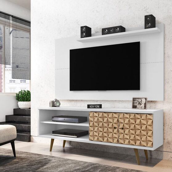 Liberty 62.99 mid-century modern TV stand and panel with solid wood legs in white and 3d brown prints