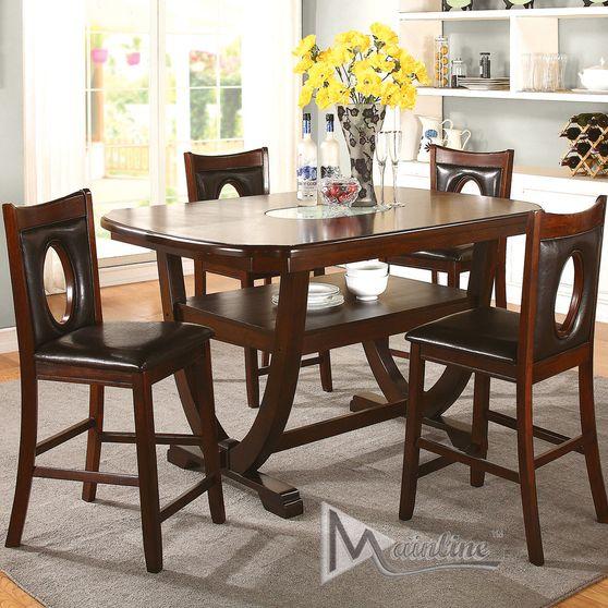 Casual dark espresso wood dining table