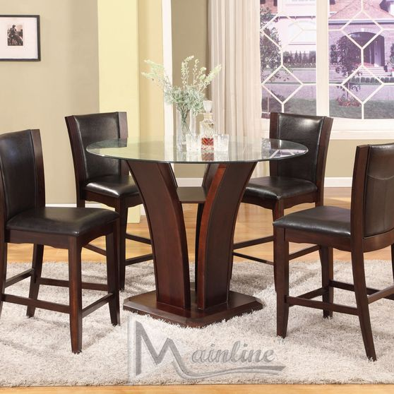 Contemporary bar height two-toned round dining set