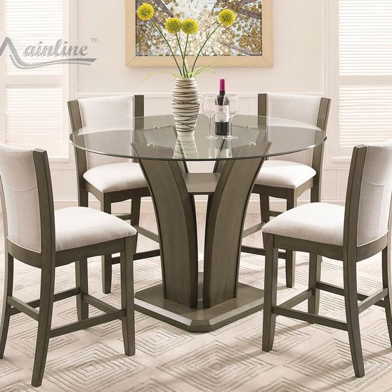 Contemporary bar height gray round dining set