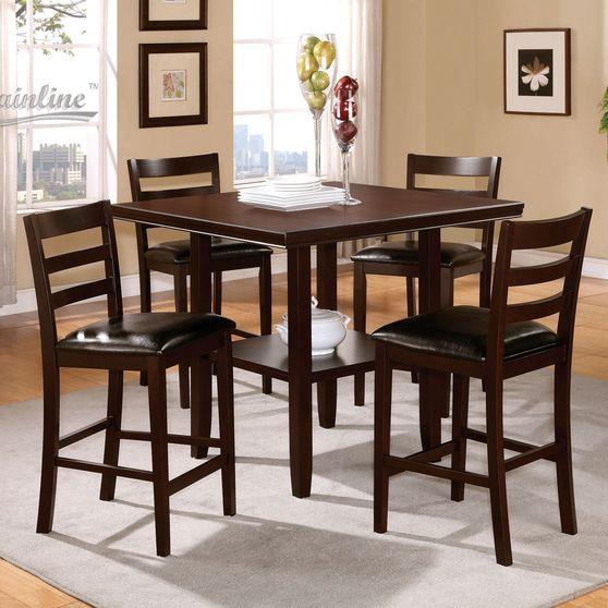 5pcs chocolate brown bar height dining set