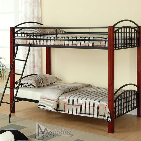 Twin metal post bunk bed
