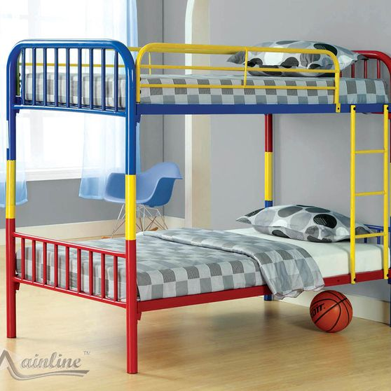 Multicolor twin/twin convertible bunk bed