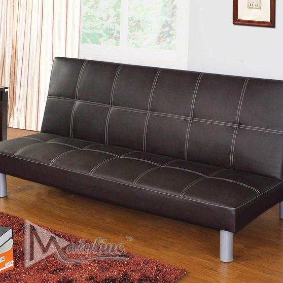 Black leatherette small sofa bed