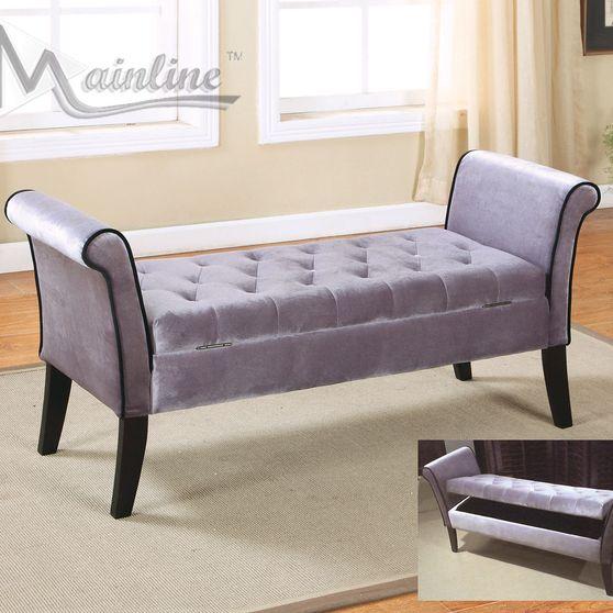 Silver gray fabric bench w/ storage