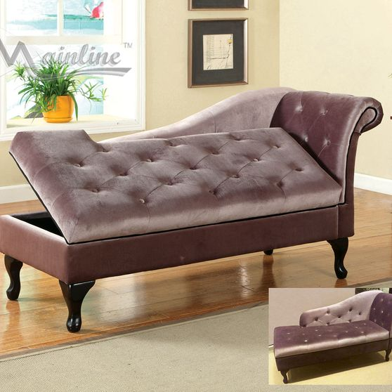 Chaise lounge in brown velvet fabric